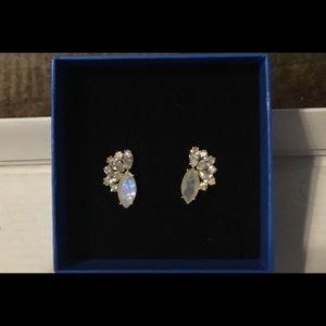 New 18KYGP Ethiopian Opal & White Topaz Earrings